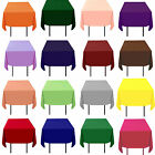 "10 SQUARE TABLECLOTHS 120"" x 120"" OVERLAYS 100% POLYESTER Custom Made 23 Colors"