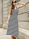 On Holiday New Lady Sexy Summer Sleeveless Crew Neck Long Stripe Dress Clubwear