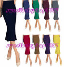Solid Womens Fishtail Wear to Work Party Memaid Pencil Midi SKIRTS DRESS Bodycon