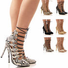 LADIES WOMENS COURT SHOES LACE UP HIGH HEELS TIE UP THE LEG POINTY FASHION SIZE