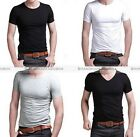 Men Slim Fit V-neck T-shirt Short Sleeve Tee Short Sleeve Casual Tops S-3XL