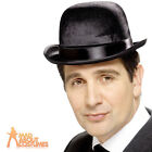 Adult Derby Bowler Hat Indestructible Black Gentleman Vintage Fancy Dress New