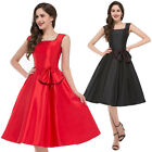 1950's Ladies New Black Red Vintage Style Dresses Evening Party Dress