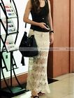 Women Knit Crochet Bodycon Hollow Out Elastic Waist Beach Long Maxi Skirt