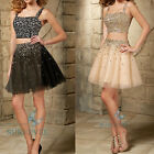 2 Pieces Straps Beaded Short Evening Dress Party Prom Homecoming Dress Ball Gown