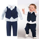 Baby Toddlers Boy Formal Pageant Suit Shirt Pants Waistcoat Set 1T 2T 3T 4T 5T