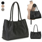 CLASSIC WOVEN MESHED TWIST SHOPPER SHOPPING SHOULDER BAG REAL SHEEPSKIN LEATHER