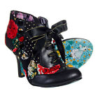 Ladies Irregular Choice Blair Elfglow Red/Black Floral Print High Heeled Bootie