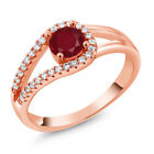0.91 Ct Round Red Ruby 18K Rose Gold Plated Silver Ring