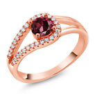 0.99 Ct Round Red Rhodolite Garnet 18K Rose Gold Plated Silver Ring