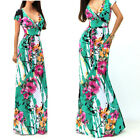 Women Vintage Bohemia Green Floral Print Summer Ladies Maxi Dress Beach Wear