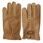TOP QUALITY REAL SOFT LEATHER MEN'S DRIVING GLOVES BLACK BROWN TAN YELLOW