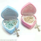 Glass MY FIRST ROSARY Beads for Baby Boy Girl Child Pink Blue Christening Gift