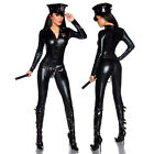 Sexy Cop Costume Police Woman Black Dress Carnival Fancy Overall Elastic Buttons
