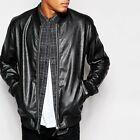 ASOS Mens Black Leather Look PU Bomber Jacket - XS S M BNWT RRP £50.00