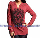 Affliction Live Wild AW11865 Long Sleeve Fashion Graphic t-shirt Top for Women