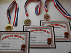 SPORTS DAY MEDALS IN GOLD/SILVER OR BRONZE - WITH SPORTS DAY CERTIFICATES - DWL