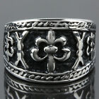 Men's Black Stainless Steel Cross Embossed Totems Carved Biker Band Finger Ring