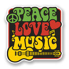 2 x 10cm Love Peace Music Vinyl Sticker Laptop Car Camper Surf Guitar Kids #5943