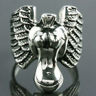 Venus Goddes Naked Angel Wing Flying Feather Biker Stainless Steel Rings US 8-15