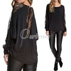 New Style Bat Long-sleeved Flower Lace Embellish Shirt Casual Blouse Tops