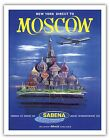 Moscow Russia Kremlin Red Square Vintage Airline Travel Art Poster Print Giclee