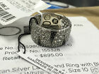JOHN HARDY MENS PALU MACAN SILVER LAVA BAND RING WITH BLACK & WHITE SAPPHIRE