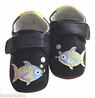 Baby Boy's Toddler Rose et Chocolat Blue Fish Leather Shoes for Indoor & Outdoor
