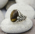 Hand made mens ring with Tiger`s eye stone - Special design Silver ring 925