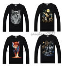 Boys 3D Print Top Men T Shirt Long Sleeve T-Shirts Halloween Wolf Size S-XXXL