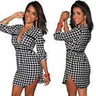 Women Black White Houndstooth Shirt Dress Casual Night Club Party Evening Dress