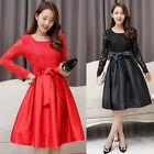 Spring Autumn Sweet Womens Lace Long Sleeve Stitching Bowknot Belted Long Dress