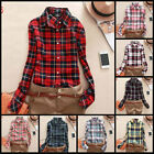 Checkered Long Sleeve Shirt Plaid Retro Country Casual Blouse Collar Top Cotton