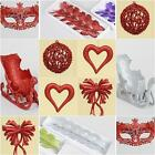 GLITTERY CHRISTMAS TREE DECORATIONS RED SILVER HEART BOWS BUTTERFLY MASKS XMAS