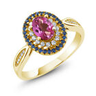 1.55 Ct Oval Pink Mystic Topaz 18K Yellow Gold Plated Silver Ring