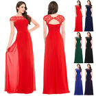 New Women Long Chiffon Lace Evening Gown Bridesmaid Prom Dress Formal Party Ball