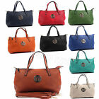 Ladies Medium Faux Leather Top Handle Tote With Long Shoulder Strap Satchel