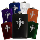 Classic Lightning Bolt Taking Care of Business TCB FLASK, Engraved 8oz, Elvis