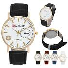 Men's Analog Quartz Watch Leather Band stainless steel Business Wrist Watch New