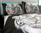 White Tiger Duvet Set Photo Print Quilt Cover Pillow Case Bed Linen King Size