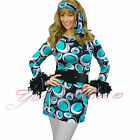 Fancy Dress Costume Hippy Womens 70s 60s Hippie Plus Size Disco Go Flower Power