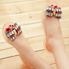 New Womens Jelly Flat Sandals Diamond Bowknot Open Toe  Rubber Ballet Flat Shoes