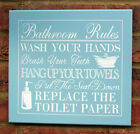Funny Blue White Wooden Sign Keep Bathroom Clean Rules Shabby Vintage Chic New