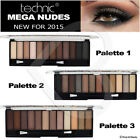 NEW Technic Eyeshadow Mega Nudes 2 3 Palette - 12 Shades Naked Natural Shadow
