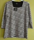 Tigi Textured Square Neck Stripe Shirt Top 3/4 Sleeve Size 10-24 BNWT RRP £35