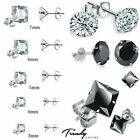 Women Men Genuine 925 Sterling Silver Cubic Zirconia Round/square Stud Earrings