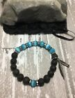 Healing Essential Oil Black Lava Bracelet W/Blue Cats Eye Feather Charms USA