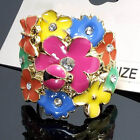 New Vary Color Flower Clear Crystals CZ Fashion Style Women Ladies Cocktail Ring