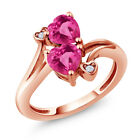 1.78 Ct Pink Created Sapphire Pink Mystic Topaz 18K Rose Gold Plated Silver Ring