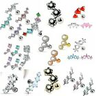 UK SELLER Crystal CZ Curved Cartilage Upper Ear Stud Earring Tragus Helix Bar